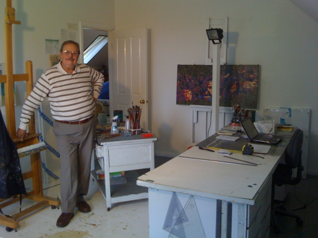 Australian Artist Harry Pidgeon in his Art Studio at Home. Buy art online at CooksHillGalleries.com.au. ARTAFFAIR.COM.AU