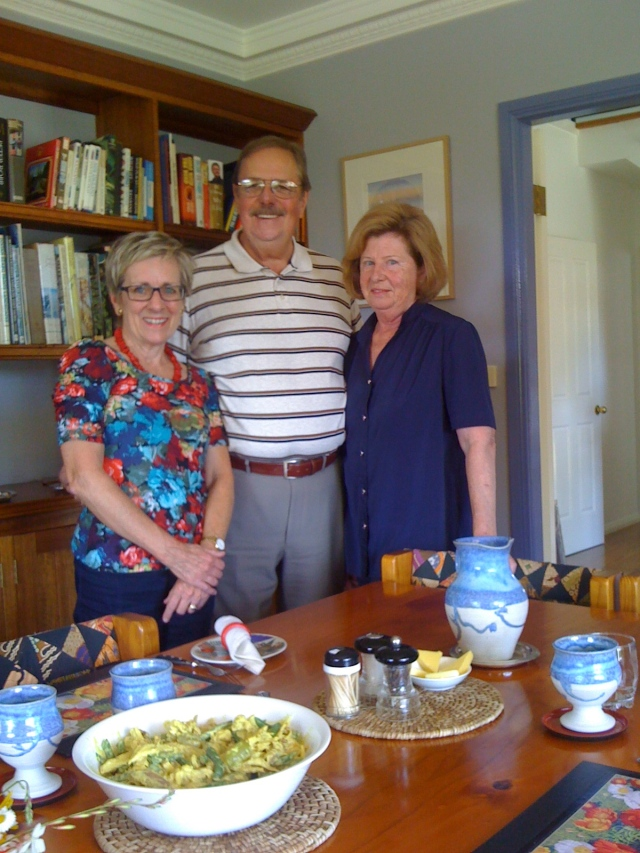 Australian artist Harry Pidgeon and his wife Annie with Libby Widdup at home. ArtAffair.com.au